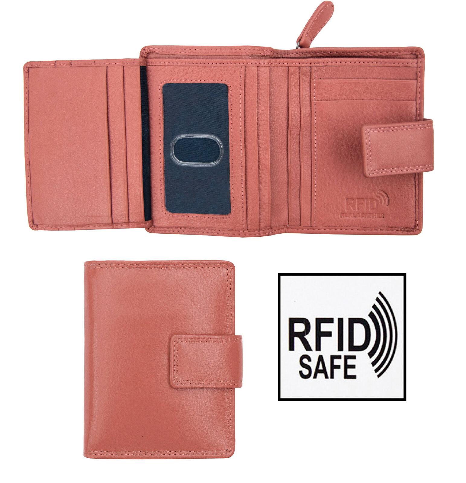 NEW Prime Hide Women's Tri-Fold Dusty Rose Leather Purse Wallet RFID Blocking