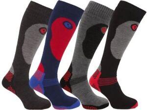 Girls Soft Thermal Padded Long Ski Socks Kids Skiing Snow High Performance Sports Socks Pack of 2