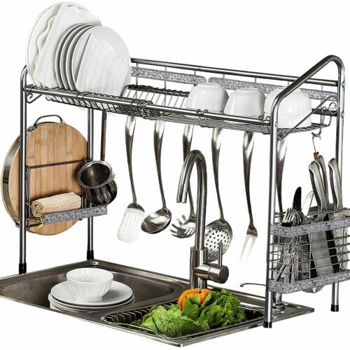 Stainless Steel Drying Dish Rack Over Sink  Bowl Shelf Organize Cutlery Holder