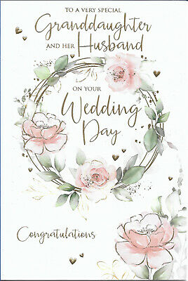 """GRANDDAUGHTER AND HUSBAND WEDDING DAY GREETING CARD 9/""""X6/"""" FREE P/&P"""