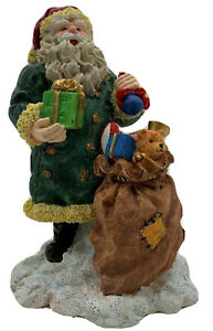 "Santa Claus Figure with a Sack of Toys 7""H Hand Painted Christmas Holidays VTG"