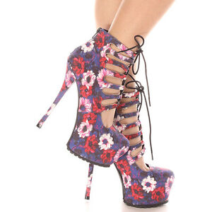 5a62f176b2 Details about Survivor-11x Blue Floral Suede Lace up Pump Stiletto Heels  Qupid Women's shoes