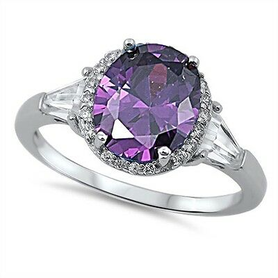 Faceted Amethyst & Baguette Russian CZ .925 Sterling Silver Ring Sizes 5-9