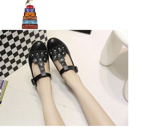 Fashion Kids Girls Flower T-strap Dress School Shoes Leather Oxford Flats