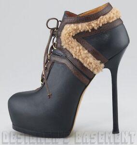 6c562e67674 YVES SAINT LAURENT black & brown 39.5 Shearling TRIBTOO Platform ...