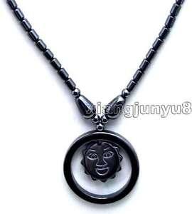 Long Hematite dark Silver Colour Circular Pendant necklace