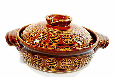 Vintage Chinese Pottery Bowl Vase With Lid Oriental Pottery Asian Pottery
