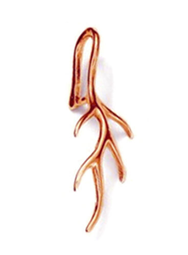 ROSE GOLD PLATED 1 STERLING SILVER 925 VEINED LEAF PENDANT PINCH BAIL 24 MM