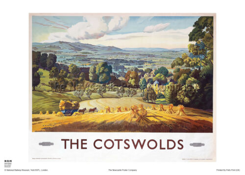 COTSWOLDS GLOUCESTERSHIRE RAILWAY TRAVEL VINTAGE POSTER ADVERTISING HOLIDAY