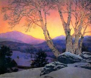 Image Is Loading Beautiful Pink Sky Tree Farm By Maxfield Parrish