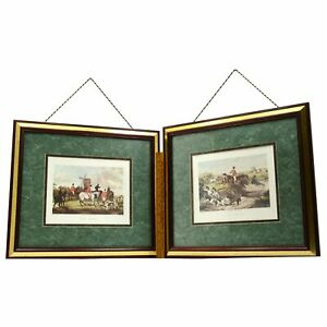 Lot-of-2-FRAMED-W-SHAYER-PRINTS-Engraved-by-C-R-STOCK-034-THE-MEET-034-amp-034-THE-DEATH-034