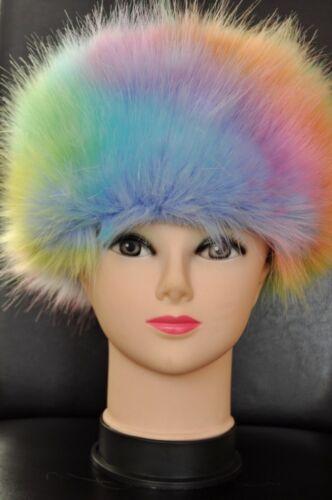 NEW Faux Fur Hats TOP QUALITY FESTIVE HATS Rainbow Dash COLOURS