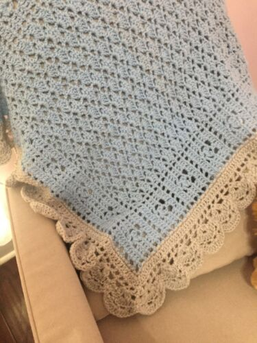 New Baby Boy Crochet Baby Blanket Blue And Light Gray With Scalloped Edges