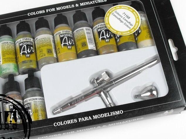 Vallejo VAL71168 Modell Air Set - Ultra Aerógrafo + 10 Camuflaje Farbees