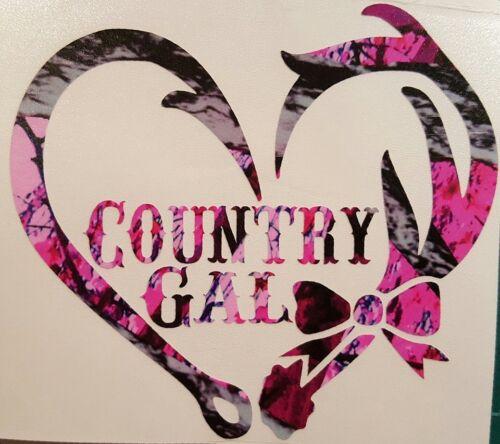 "Country Gal Antler Fishing Hook Heart Decal 5/"" Camo Hunting Muddy Outdoor Deer"