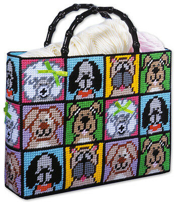 Plastic Canvas Kit ~ Design Works Happy Dogs & Puppies Dog Tote Bag #DW1827