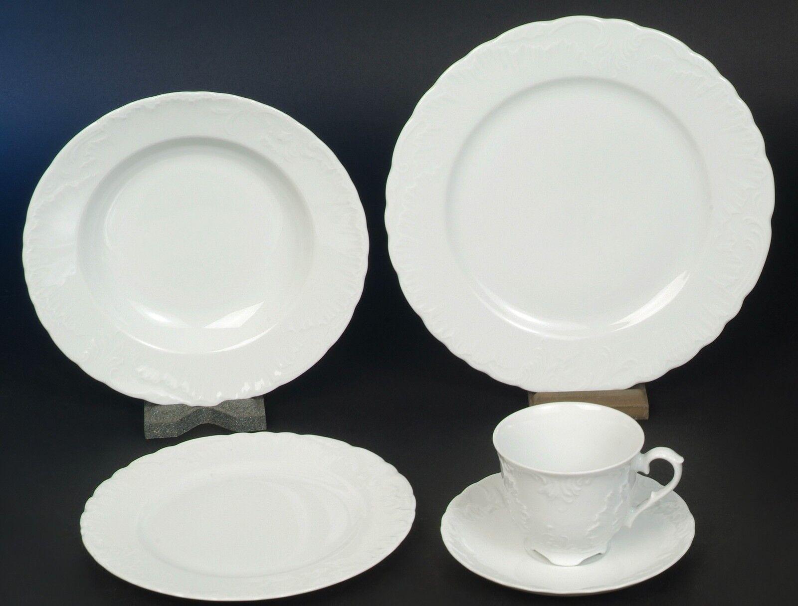 Rocaille 2 Blanc Combi service 6 personnes 50 pièces porcelaine vaisselle set NOUVEAU