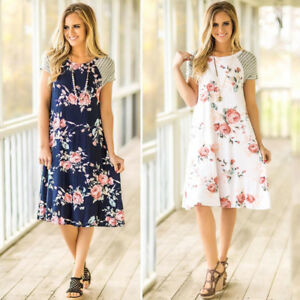 Fashion-Summer-Women-Floral-Print-Casual-Short-Sleeve-O-Neck-A-line-Loose-Dress
