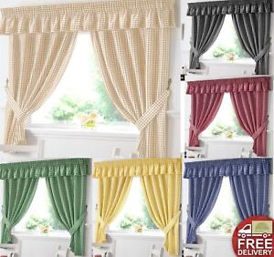 Details About Gingham Kitchen Window Curtains Or Matching Pelmet Valance Ready Made