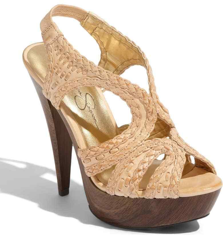 Jessica Simpson Gift Beige Leather Platform Sandal shoes, 8.5M