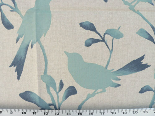 Aqua // Teal Drapery Upholstery Fabric Birds Branches Leaves Silhouette Print