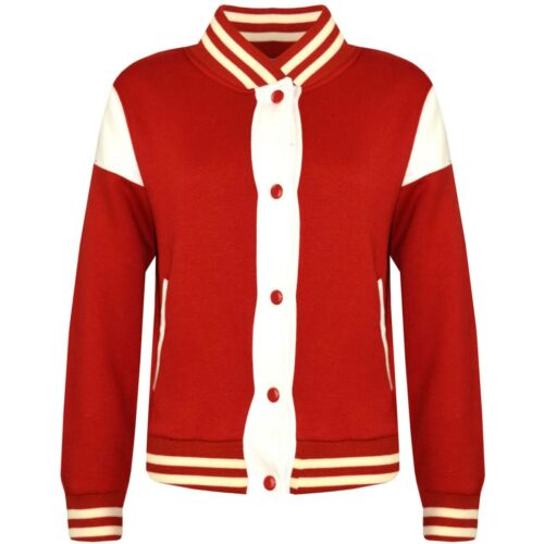 Kinder Mädchen Baseball Jacke Varsity Stil Rot Einfarbig Schule Top 2-13 Jahre