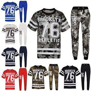 Enfants Garçons Top Designer Brooklyn 76 Camouflage T Shirt Tops & Pantalon Set 5-13 Yr-afficher Le Titre D'origine