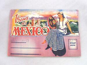 Vintage-1950s-Views-Of-Mexico-Souvenir-Fold-out-Postcard-16-Color-Images