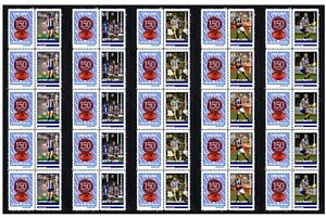 NORTH-MELBOURNE-SET-OF-5-150th-FOOTBALL-STRIPS-OF-10-MINT-VIGNETTE-STAMPS