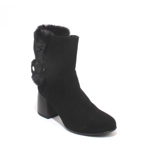 Alberto La TORRE 4469 Black Suede / Faux Fur Zip-Up Ankle Heel Boots 37 / US 7
