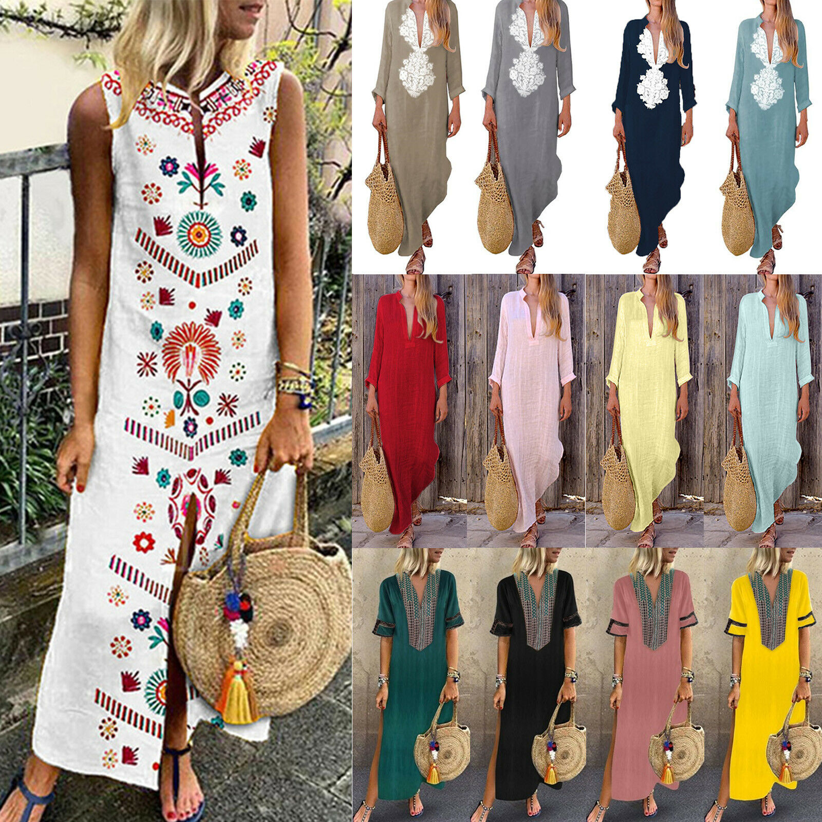 Womens Boho Floral Retro Baggy Split Kaftan Casual Cotton Linen Long Maxi Dress
