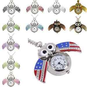 Eule-Eulen-Kette-Uhr-Taschenuhr-Eulenkette-Gufo-Kettenuhr-Farben-Halskette