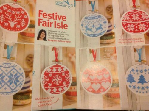 XX Fair Isle Scandi Bauble DECORAZIONI NATALE cross stitch chart