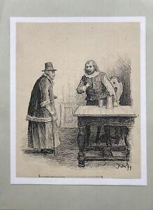 Poul-Steffensen-1866-1923-Dame-und-Herr-am-Barocktisch-Illustration-Carit-Etlar