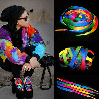 Hot 2 Pairs Rainbow Multi-Colors Flat Shoe Laces Shoelaces Strings for Sneakers
