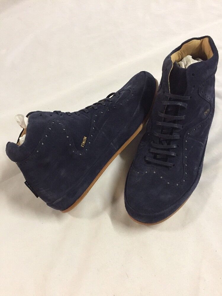 Freeman Plat COURT MID Men's Leather Boot  SNEAKERS shoes Size 10.5 Navy