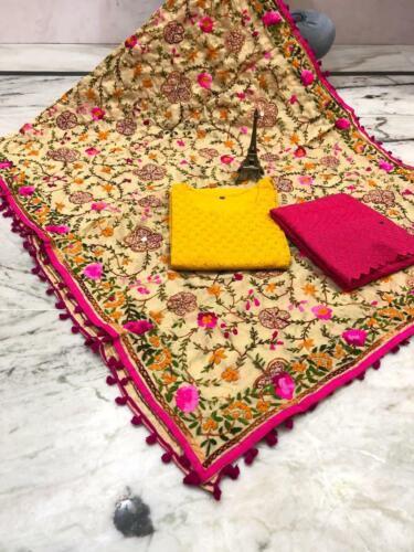 Handwork pom pom raw silk mirror work dupatta kurti /& chikan full jal plazo set