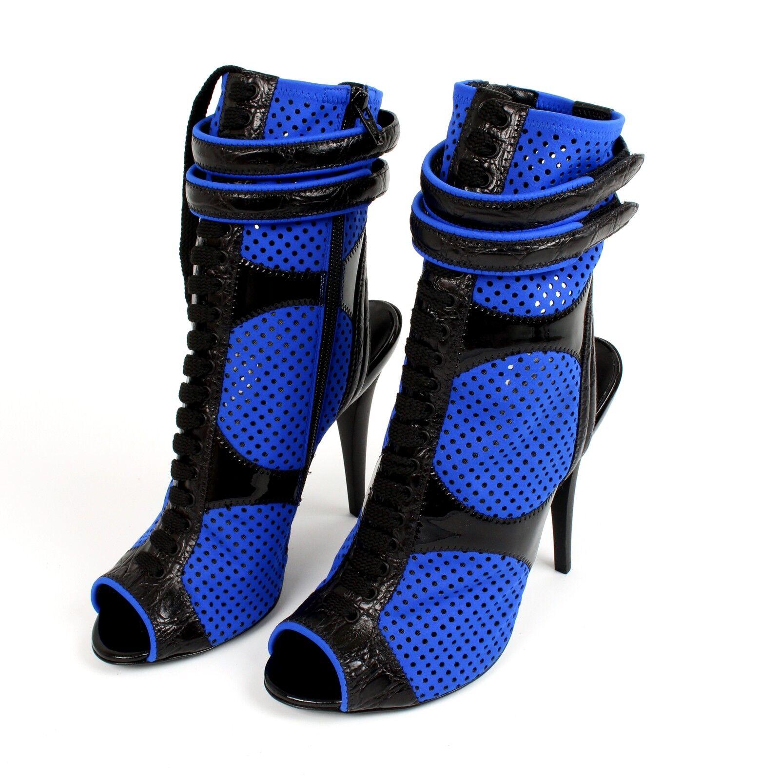 Emilio Pucci Bleu Néoprène & & & Bottines en cuir chaussures + sac à poussière UK7 EU40 US10 7003bb