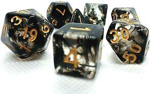 RPG-Wuerfel-Set-7-teilig-Poly-DND-Rollenspiel-black-Tabletop-dice4friends-w4-w20