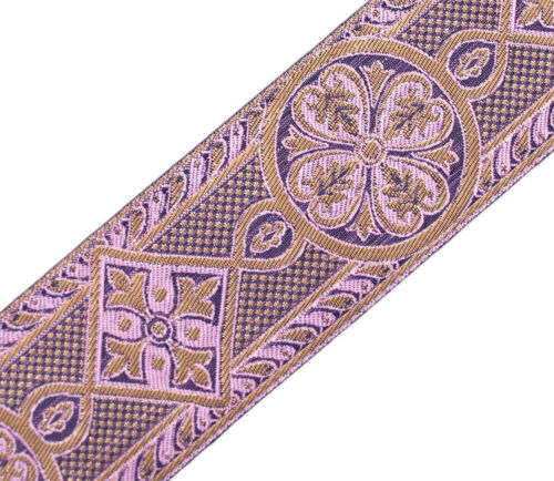 "Rose Gold Burgundy Vestment Sewing 3 Yards Medieval Style 2 3//8/"" Jacquard Trim"