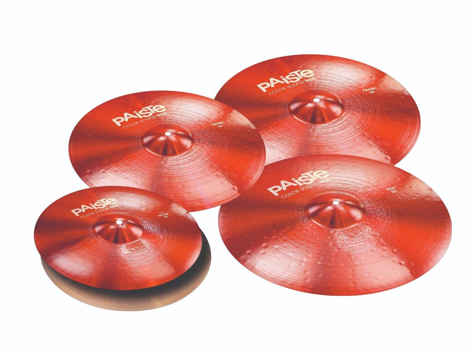 Paiste Farbe Sound 900 rot 5 Pc Universal Cymbal Set Free Cymbal Bag-Sticks