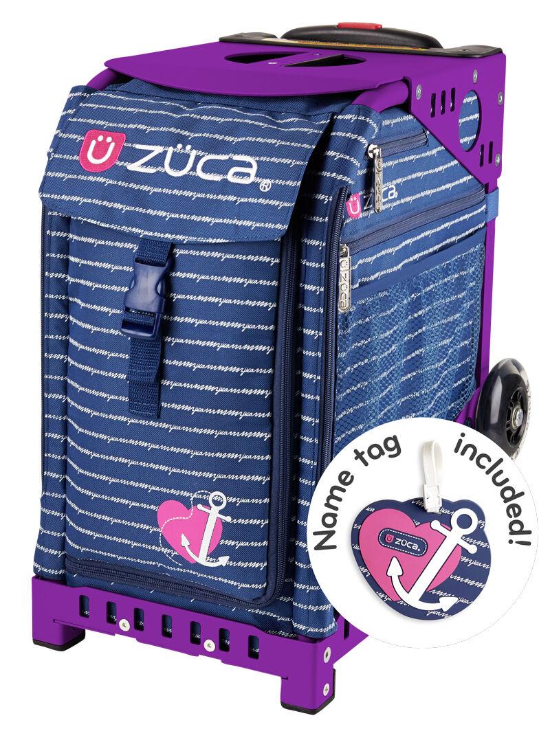ZUCA Bag ANCHOR MY HEART Insert & Purple Frame w Flashing Wheels - FREE CUSHION
