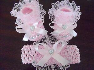 Hand-knitted-Romany-Bling-baby-girls-pink-booties-Crochet-headband