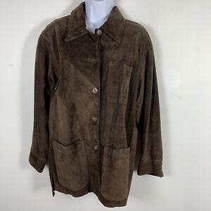J Jill Ltd. Womens Genuine Suede Jacket Sz M Brown Causal Button Front E20
