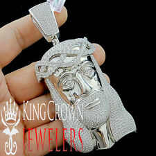 CUSTOM PIECE  REAL 10K GOLD SILVER BIG XL 4.25'' JESUS FACE SIMU DIAMOND PENDANT