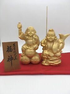 Japanese-Ebisu-amp-Daikoku-Gold-plated-Vintage-Rare-Ornament