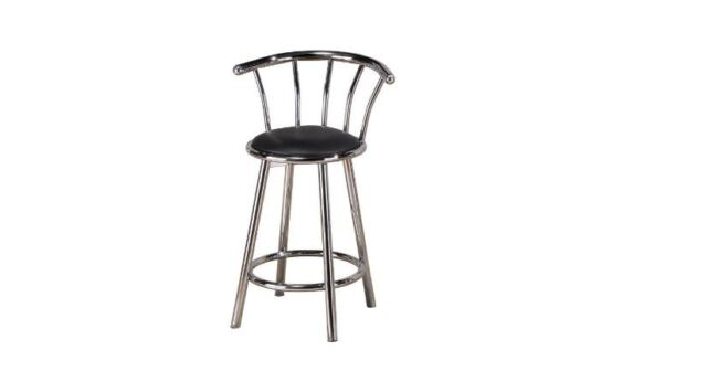 Kitchen Bar Stool with Backs Set of Two Swivel Seat Style Chrome Indoor  Black