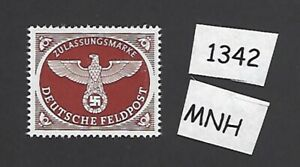 MNH-WWII-Feldpost-stamp-1942-WWII-emblem-Issue-Third-Reich-Military-Rouletted
