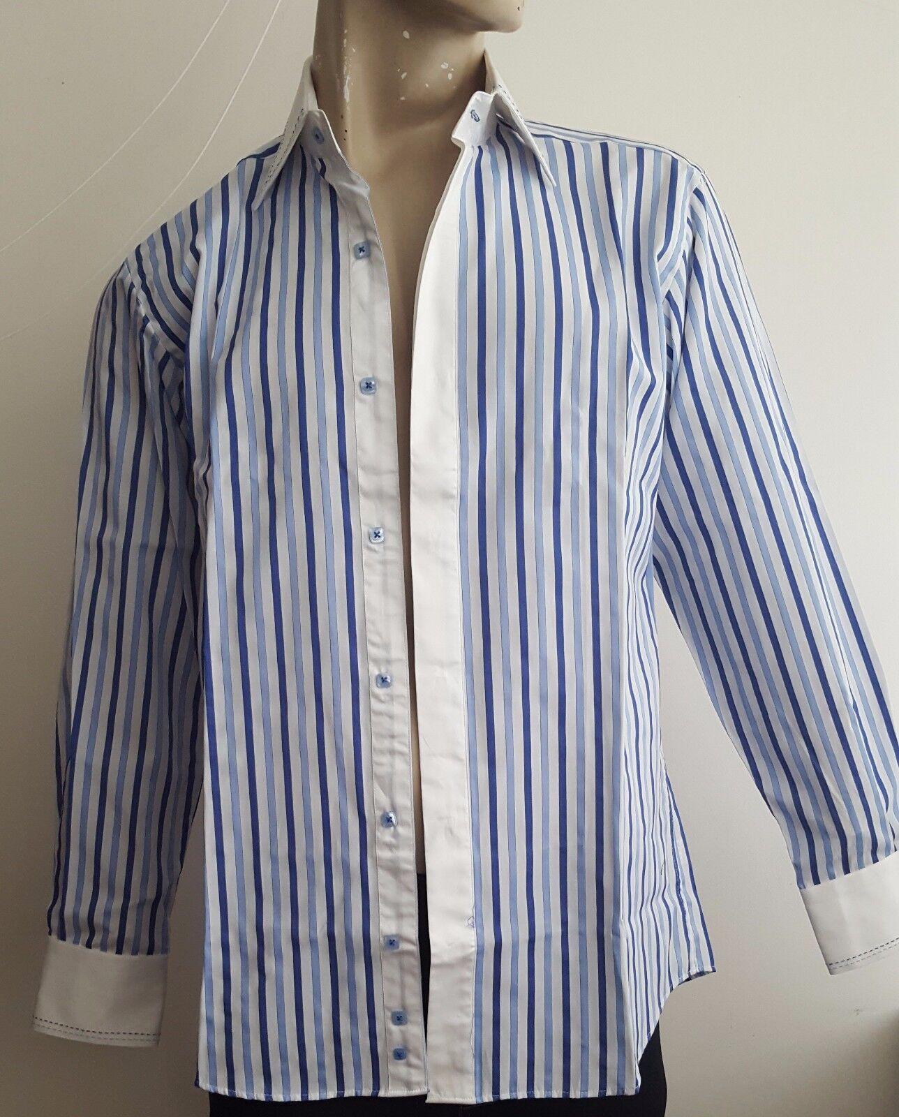 CLAUDIO LUGLI - Long Sleeve Shirt in Blau Stripe