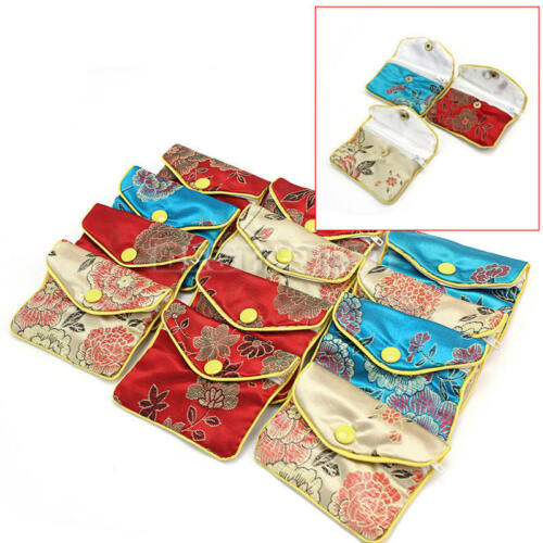 12Pcs Zipper Embroider Brocade Pouch Rings Jades Coins Bag Jewelry Gift Package
